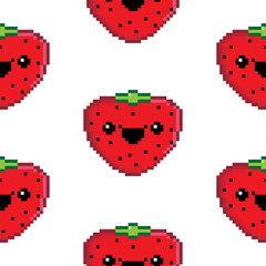 Seamless repeating background of a pixel art strawberry