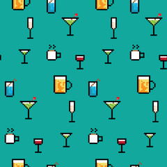 A seamless repeating background of various pixel art drinks