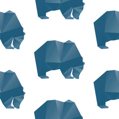 A seamless repeating pattern of a polygon style blue bear