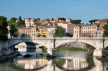 St. Angelo Bridge  and the Trastevere district in Rome.