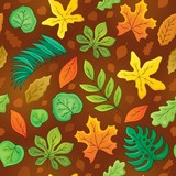 Seamless background with leaves 3