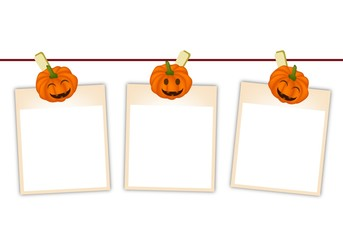 Blank Photos with Halloween Pumpkin Hanging on Clothesline