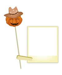 Halloween Pumpkin in Cowboy Hat with Blank Photos
