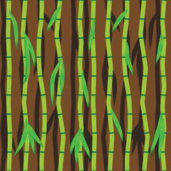Bamboo sticks and leaves. Abstract seamless vector background.