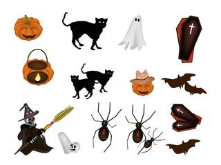 An illustration Set of Various Halloween Item