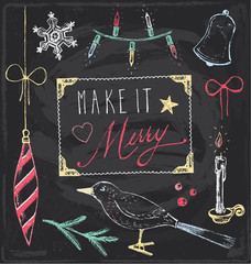 Vintage Christmas Chalkboard Hand Drawn Vector Set 5