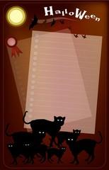 Halloween Black Cats on Full Moon Background