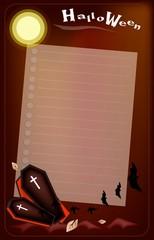 Open Black Coffin on Halloween Night Background