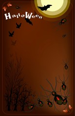 Gang of Evil Spiders on Full Moon Background