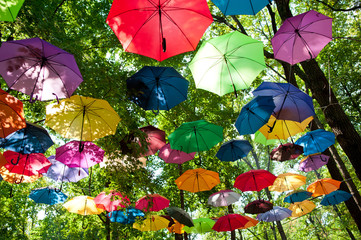 a lot of varicoloured umbrellas