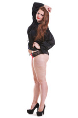 Girl with obesity and cellulite
