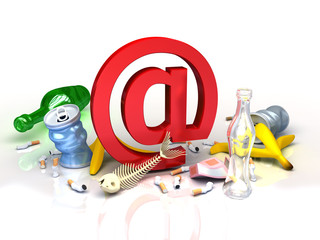 E-mail garbage and spam. Conceptual illustration