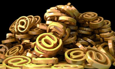 Mount made of golden E-mail  symbols. 3d illustration