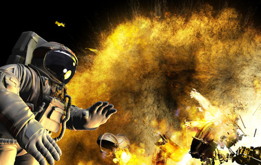 Astronaut in open space. Space ship exploded.