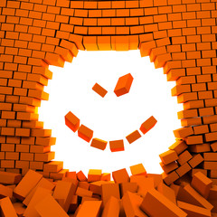 smiling face made of falling bricks and hole in wall.