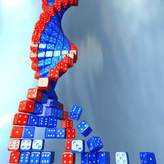 DNA spiral made of game dice. Conceptual science 3d illustration