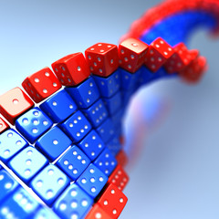 DNA made of game dice. Conceptual science 3d illustration