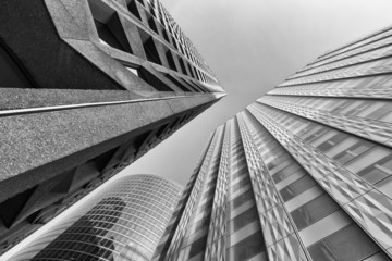 Black and White View of Modern Buildings