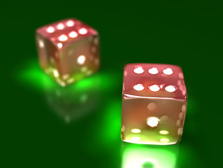 two dice on a game table in a casino