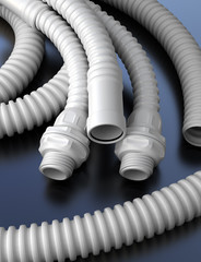 Plastic hoses with connectors. Industial 3d illustration