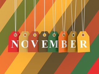 November tag on colored hanging labels. Fall colors