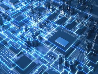 Fantasy circuit board or mainboard. Technology 3d illustration
