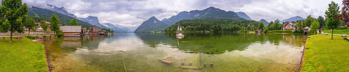 Panorama of Grundlsee lake in Alps mountains, Austria