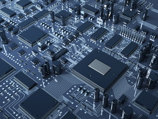 Fantasy circuit board. Technology 3d illustration