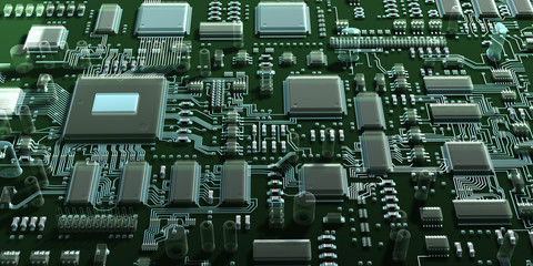 Fantasy circuit board. Top view. 3d illustration