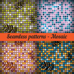 Mosaic with palm leaves. Set of seamless patterns.