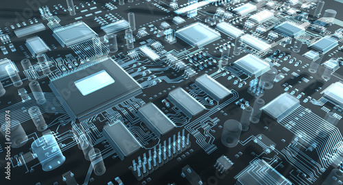 canvas print picture Fantasy circuit board or mainboard. 3d illustration