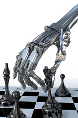 Robot or cyborg plays a chess. High technology 3d illustration