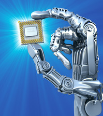 Robot's arm with processor. High technology 3d illustration