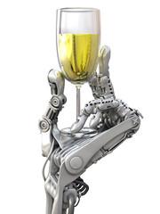 Robot keeps a wine glass. Holiday Technology 3d illustration
