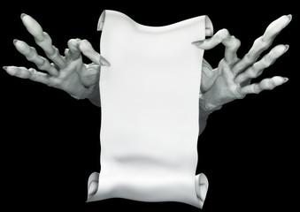 Zombie keeps manuscript. Fantasy horror illustration