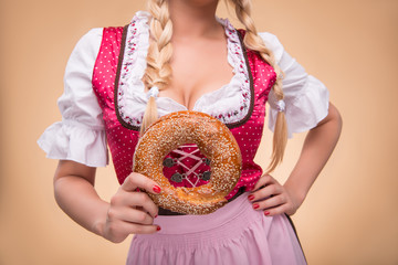 Young sexy blonde wearing dirndl