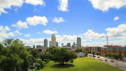 Orlando FL City Skyline, time lapse and tilt shift effect