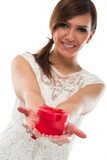 Pretty Lady Showing Round Jewellery Box on Hand