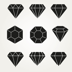 Diamond Vector Icon Symbol Set