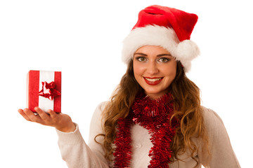 Pretty asian caucasian woman with santa claus hat celebrating ch