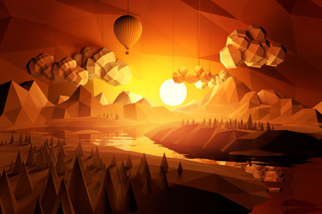 Low Poly Scenic Landscape