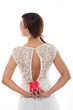Woman Sexy Back Holding Red Round Jewellery Case
