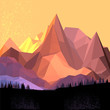 Low Poly Vector Mountain - 70988134