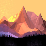 Fototapety Low Poly Vector Mountain