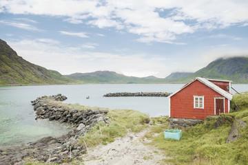 Red hut in Lofoten, Norway