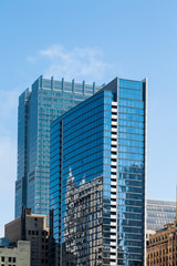 Two Blue Glass Office Towers in Chicago