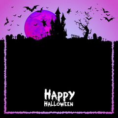 Happy Halloween Card Template, Mix of Various Spooky Creatures,