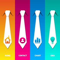 Web management icons set with neck tie back ground