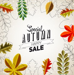 Autumn Sale abstract poster, Colorful vector leafs design