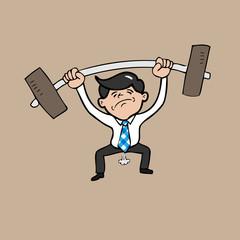 Businessman attempt weight lifting